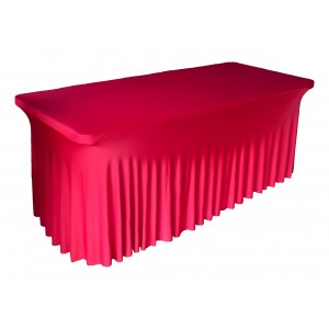 Housse Ondulée Spandex ROUGE pour table pliante rectangle 152cm x 76cm