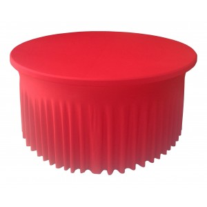 Housse Ondulée Spandex ROUGE pour table pliante ronde Diamètre 180 cm