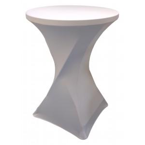 Housse Lisse Spandex ARGENTEE pour table pliante ronde mange debout, Diamètre 80 cm