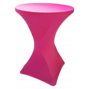 Housse Lisse Spandex ROSE FUSHIA pour table pliante ronde mange debout, Diamètre 80 cm
