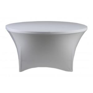 Housse Lisse Spandex BLANCHE pour table pliante ronde Diamètre 180 cm
