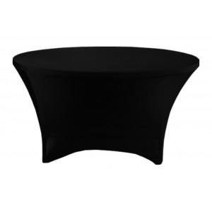 Housse Lisse Spandex NOIRE pour table pliante ronde Diamètre 180 cm