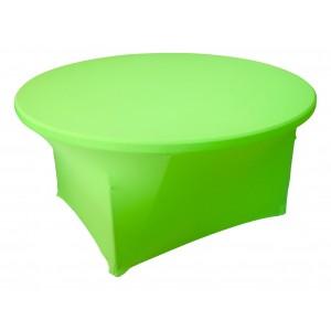 Housse Lisse Spandex VERTE pour table pliante ronde Diamètre 180 cm