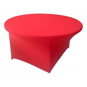 Housse Lisse Spandex ROUGE pour table pliante ronde Diamètre 180 cm