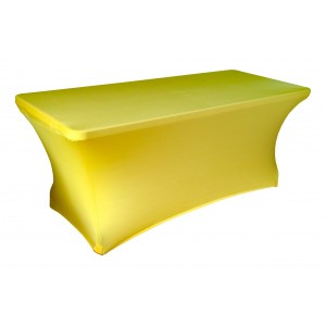Housse Lisse Spandex JAUNE pour table pliante rectangle 152cm x 76cm
