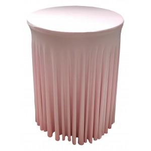 Housse Ondulée ROSE PASTEL Spandex pour table pliante Mange debout Diamètre 80 cm