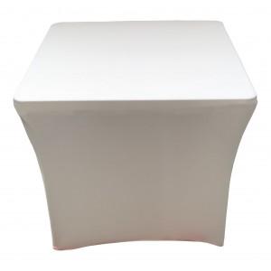 Housse Lisse Spandex BLANCHE pour table pliante carrée 87 cm x 87 cm