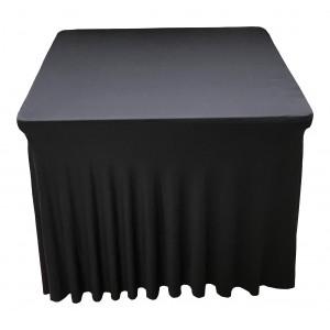 Housse Ondulée Spandex NOIRE pour table pliante carrée 87cm x 87cm