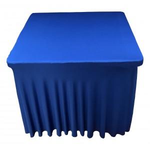 Housse Ondulée Spandex Bleu pour table pliante carrée 87cm x 87cm