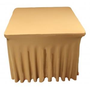 Housse Ondulée Spandex Dorée pour table pliante carrée 87cm x 87cm