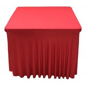 Housse Ondulée Spandex ROUGE pour table pliante carrée 87cm x 87cm