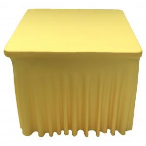 Housse Ondulée Spandex JAUNE pour table pliante carrée 87cm x 87cm