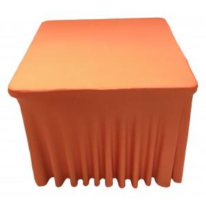 Housse Ondulée Spandex ORANGE pour table pliante carrée 87cm x 87cm