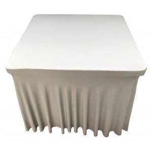 Housse Ondulée Spandex ARGENTEE pour table pliante carrée 87cm x 87cm