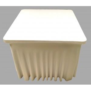 Housse Ondulée Spandex Blanche pour table pliante carrée 87cm x 87cm