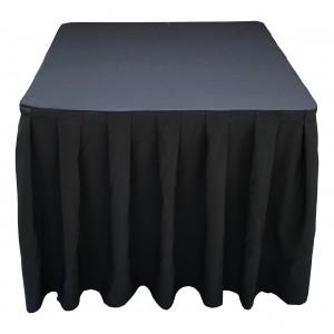 nappe Ondulée 4 Polyester NOIRE pour table pliante carrée 87cm x 87cm