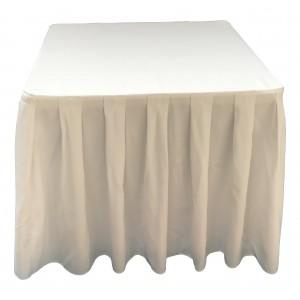 Nappe Ondulée 4 Polyester BLANCHE pour table pliante carrée 87cm x 87cm