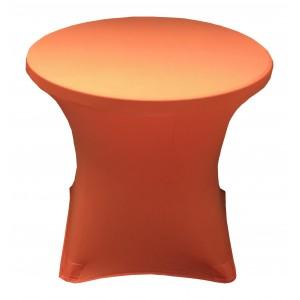 Housse Lisse Spandex ORANGE pour table pliante ronde, Diamètre 80 cm
