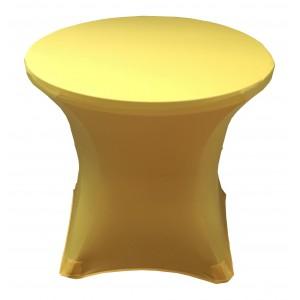 Housse Lisse Spandex JAUNE pour table pliante ronde, Diamètre 80 cm