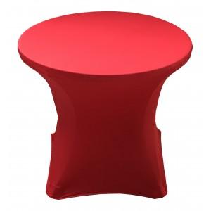 Housse Lisse Spandex ROUGE pour table pliante ronde, Diamètre 80 cm