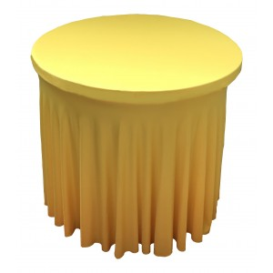 Housse Ondulée JAUNE Spandex pour table pliante Mange debout Diamètre 80 cm