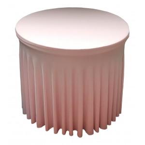 Housse Ondulée ROSE Spandex pour table pliante Diamètre 80 cm