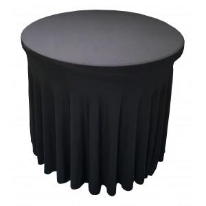 Housse Ondulée NOIRE Spandex pour table pliante Diamètre 80 cm