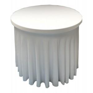 Housse Ondulée BLANC Spandex pour table pliante Diamètre 80 cm