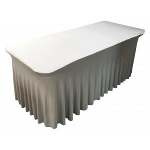 Housse Ondulée Spandex ARGENTEE pour table pliante rectangle 183cm x 76cm