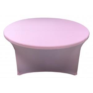 Housse Lisse Spandex ROSE pour table pliante ronde Diamètre 150 cm