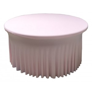 Housse Ondulée Spandex ROSE pour table pliante ronde Diamètre 150 cm