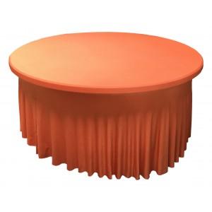 Housse Ondulée Spandex ORANGE pour table pliante ronde Diamètre 150 cm