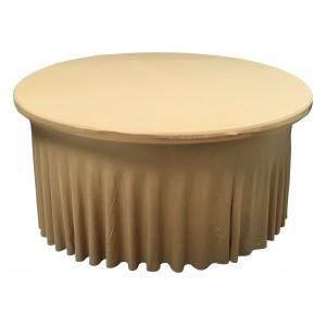 Housse Ondulée Spandex ORANGE pour table pliante ronde Diamètre 122cm