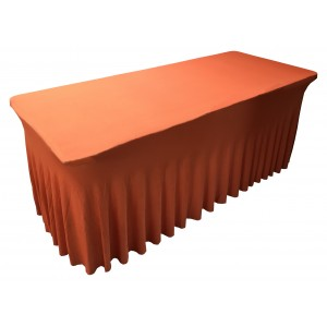 Housse Ondulée Spandex ORANGE pour table pliante rectangle 152cm x 76cm