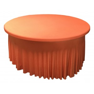 Housse Ondulée Spandex ORANGE pour table pliante ronde Diamètre 180 cm