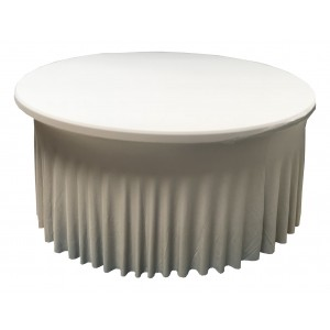 Housse Ondulée Spandex ARGENTEE pour table pliante ronde Diamètre 180 cm