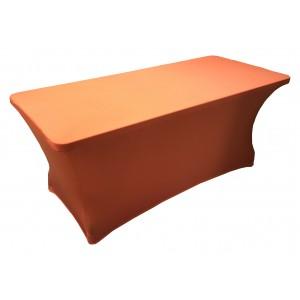 Housse Lisse Spandex ORANGE pour table pliante rectangle 152cm x 76cm