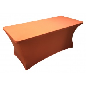 Housse Lisse Spandex ORANGE pour table pliante rectangle 152cm x 76cm