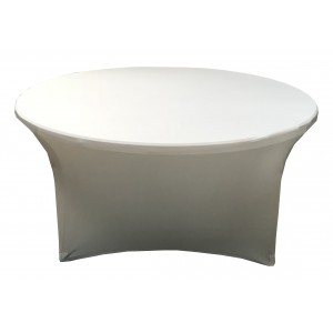 Housse Lisse Spandex ARGENTEE pour table pliante ronde Diamètre 180 cm