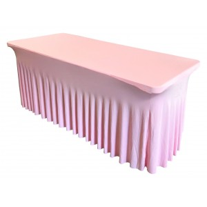 Housse Ondulée Spandex ROSE pour table pliante rectangle 200cm x 90cm