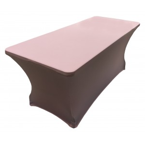 Housse Lisse Spandex ROSE pour table pliante rectangle 200cm x 90cm