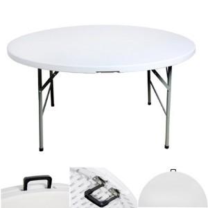 Table pliante ronde, diamètre 122cm, pliante en malette
