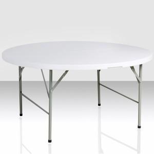 Table pliante ronde, diamètre 150cm, pliante en malette