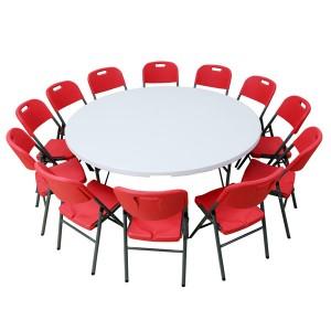 Table pliante ronde, diamètre 183cm, pliante en malette