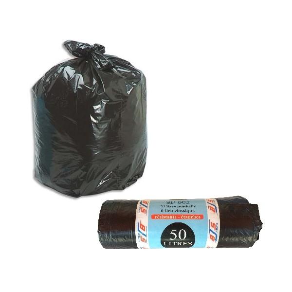 20 sacs poubelles lien classique 50 litres bjs fournitures. Black Bedroom Furniture Sets. Home Design Ideas
