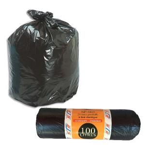 20 sacs poubelles lien classique 100 litres bjs fournitures. Black Bedroom Furniture Sets. Home Design Ideas