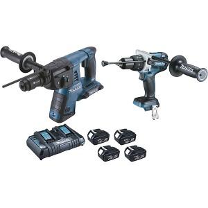 Ensemble de 2 machines MAKITA 18 V Li-Ion 4 Ah ( kit d'accessoires) (DHR264 + DHP481)