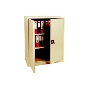Armoires - Armoire basse portes battantes beige 120x92x42