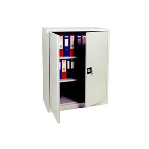 Armoires - Armoire basse portes battantes grise 120x92x42