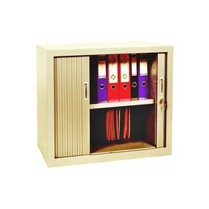 Armoires - Armoire rideaux basse beige 105x100x40